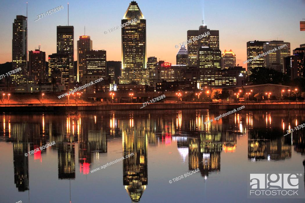 Stock Photo: Lachine Canal, Montreal skyline, Quebec, Canada.