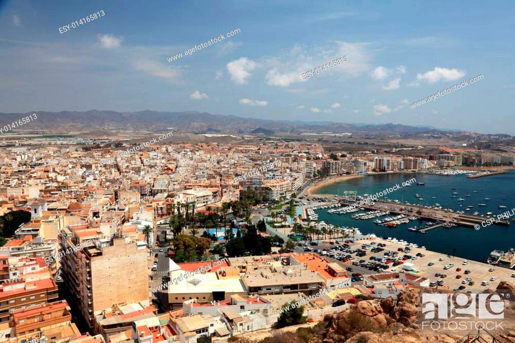 Stock Photo: Cityscape of Mediterranean town Aguilas, province of Murcia, Spain.