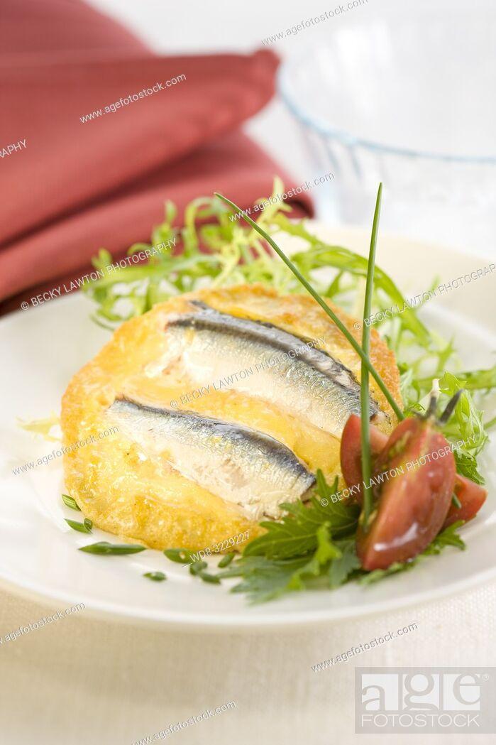 Stock Photo: Tortilla de boquerones / Anchovies omelette.