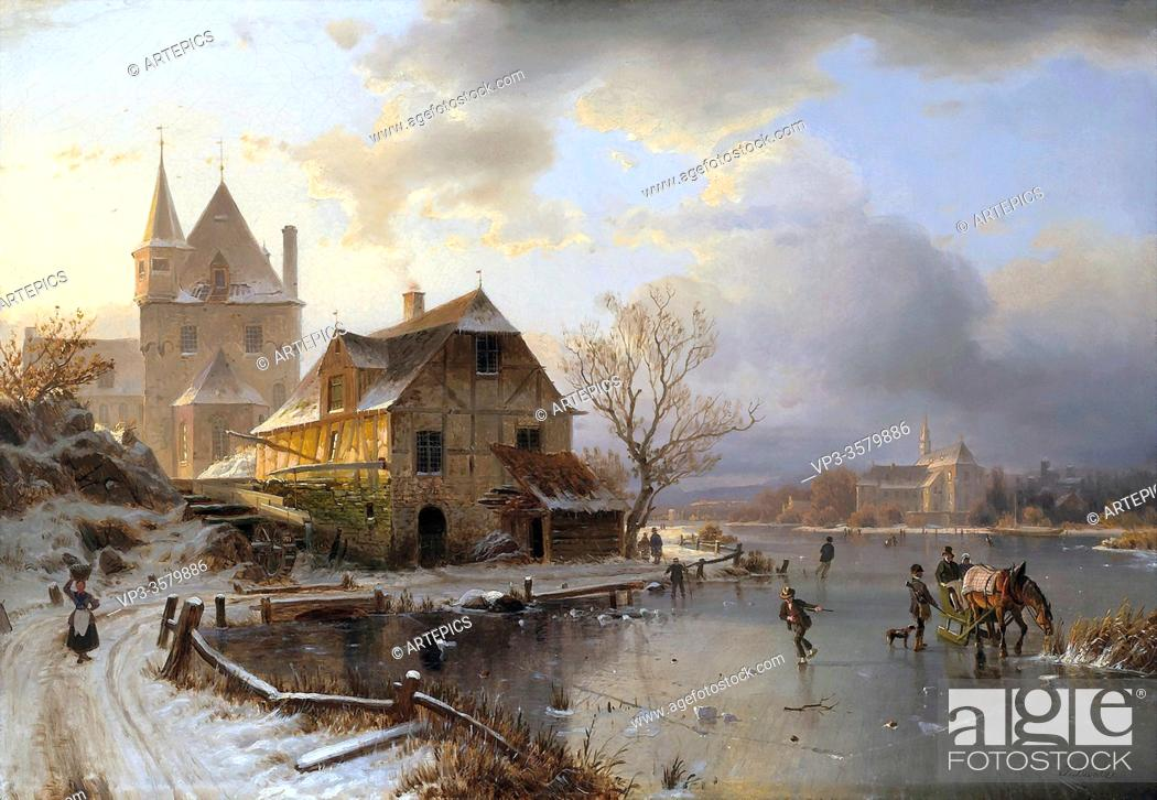 Imagen: Duntze Johannes Bertholomaus - a Lakeside Village with Skaters in Winter - German School - 19th and Early 20th Century.