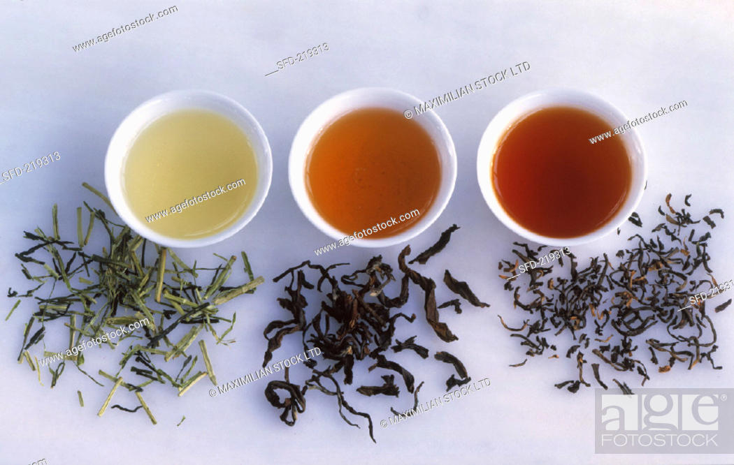 Various Types Of Tea With Tea Leaves Stock Photo Picture And