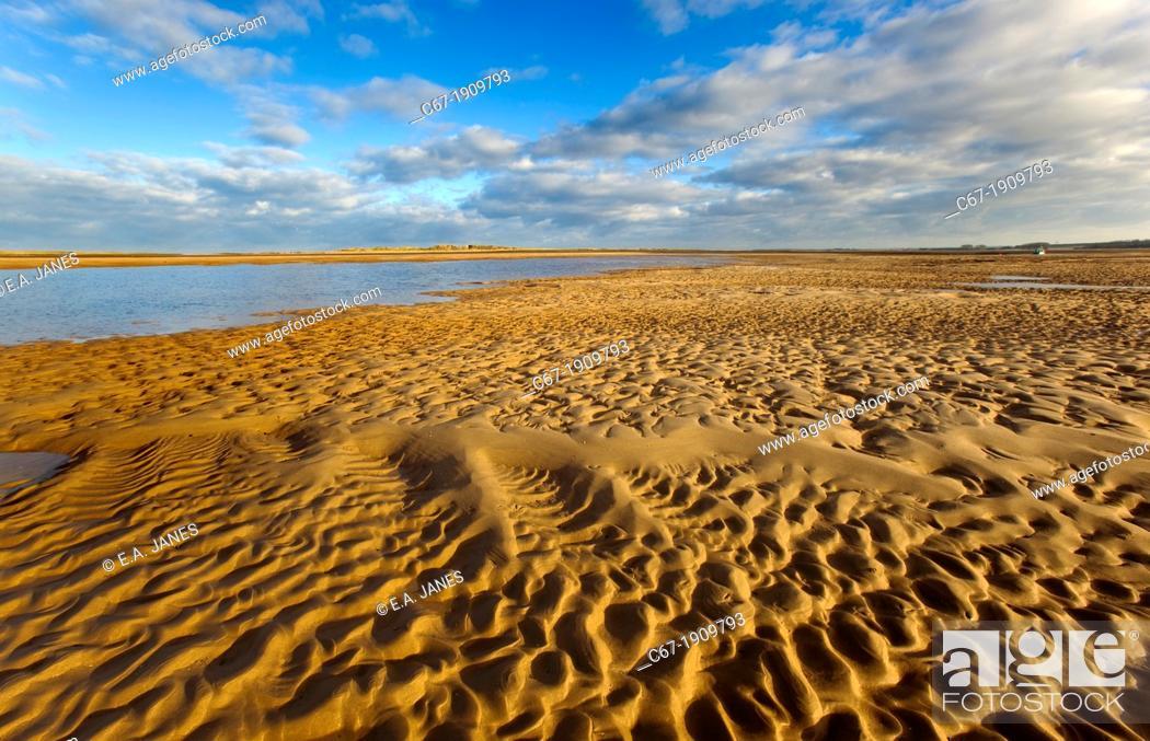 Stock Photo: Brancaster beach sand patterns North Norfolk UK Winter.