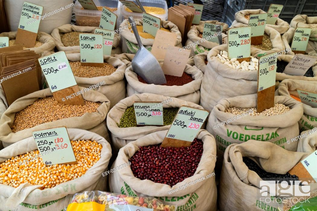 Stock Photo: Variety of pulse for sale on the Noordermarket in Amsterdam.