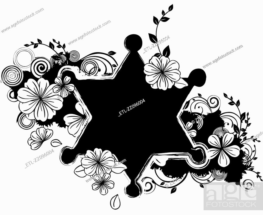 Stock Photo: Star shape with flora design.