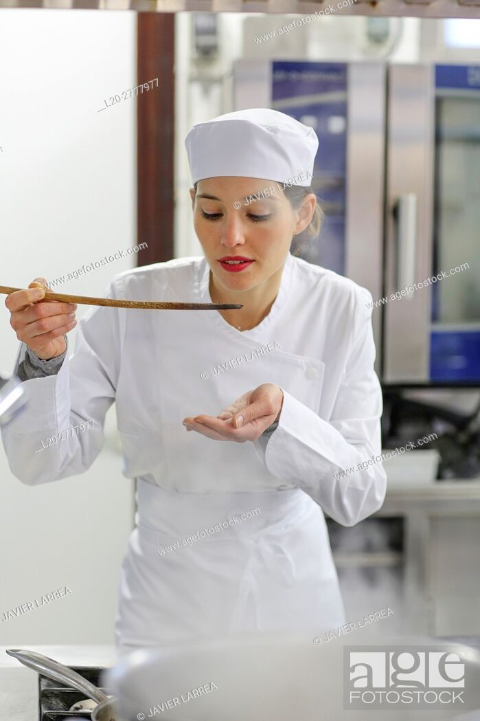 Stock Photo: Trying the food, Chef, Cook in cooking school, Cuisine School, Donostia, San Sebastian, Gipuzkoa, Basque Country, Spain, Europe.