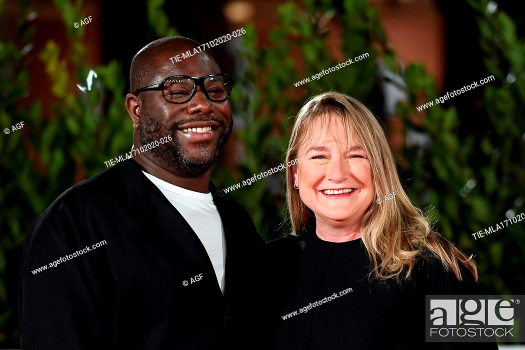"""Stock Photo: Director Steve McQueen and Bianca Stigter attend the red carpet of the movie """"""""Small Axe - Ep. Red White and Blue"""""""" during the 15th Rome Film Festival on."""