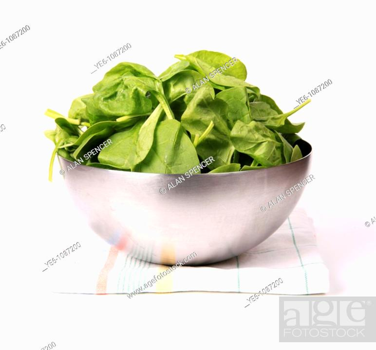 Stock Photo: Spinach in a bowl White Background.