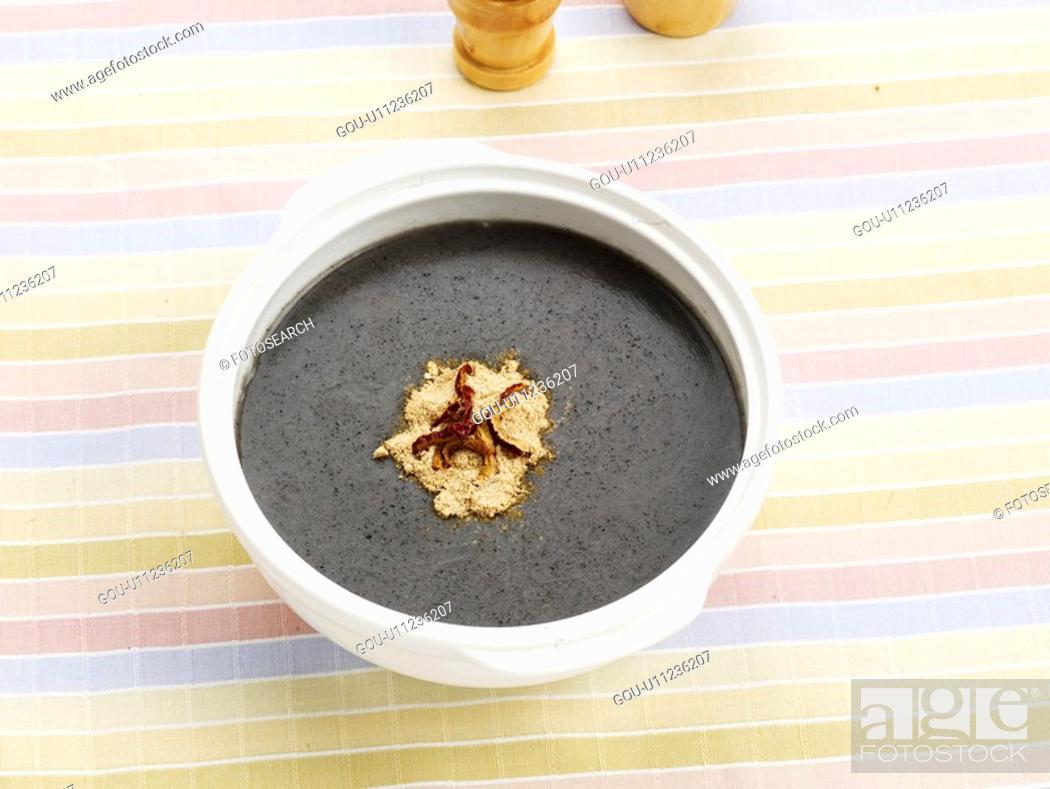 Stock Photo: black sesame gruel, cuisine, gruel, korean cuisine, korean food, vase, food.