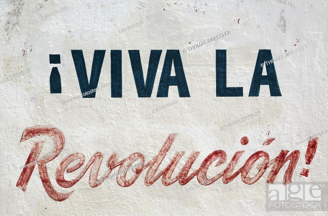 Stock Photo: Roadside sign with political propaganda. Guantánamo province, Cuba.