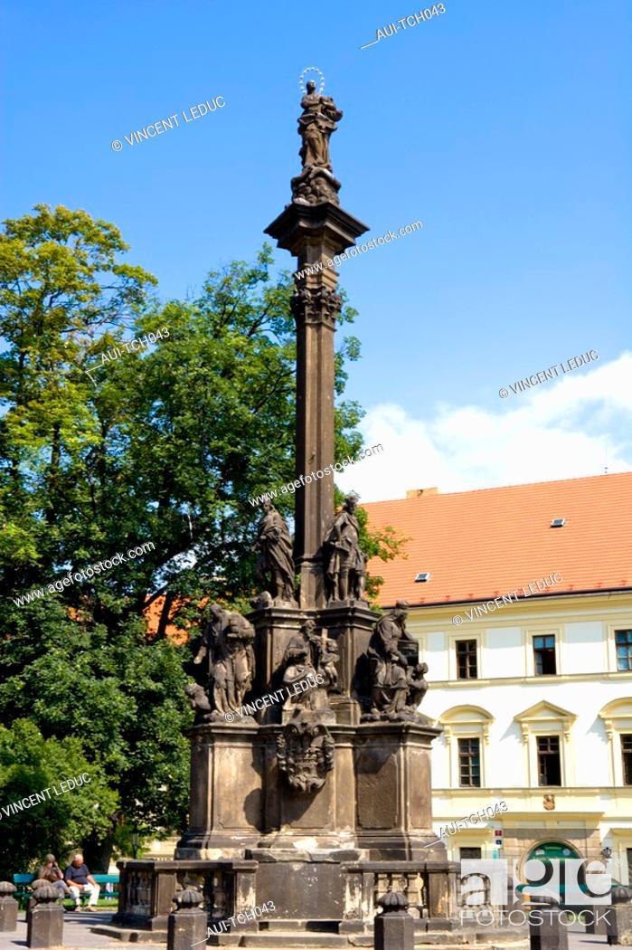 Stock Photo: Czech Republic - Prague - Hradcany Prague 1 District - Hradcanské Square - Column of the plague.