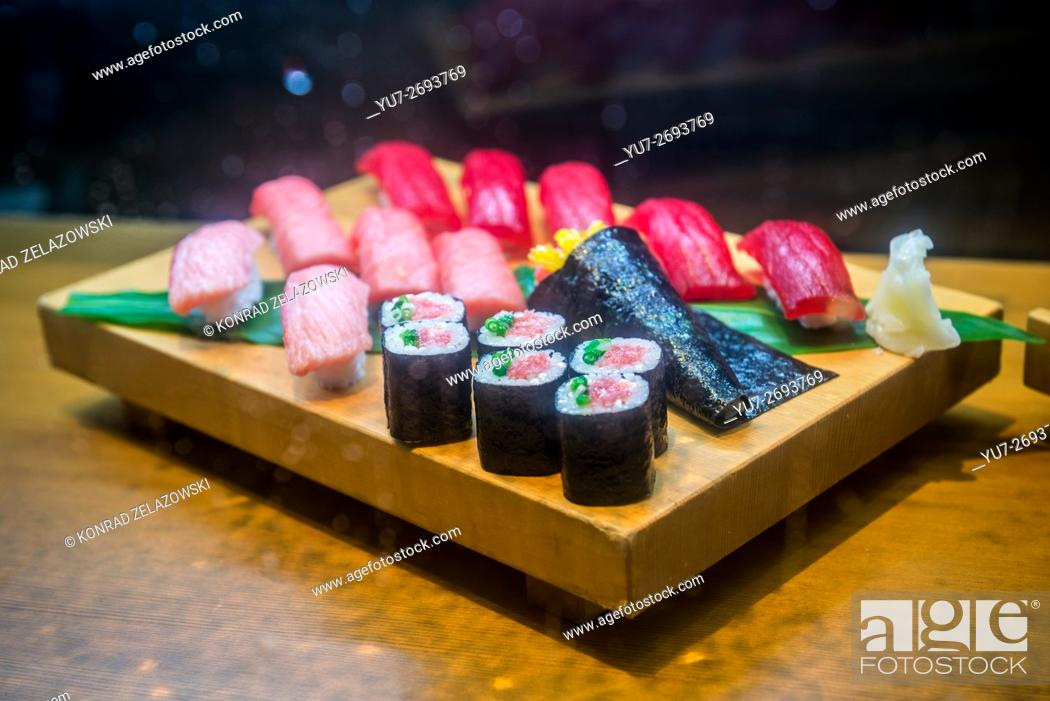 Stock Photo: sampuru - plastic food replicas display in sushi restaurant, Akasaka district in Minato special ward, Tokyo city, Japan.