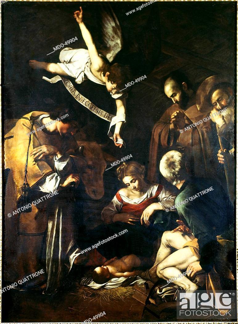 Stock Photo: Nativity with St. Francis and St. Lawrence (Natività con i santi Lorenzo e Francesco d'Assisi), by Michelangelo Merisi known as Caravaggio, 1600, 17th Century.