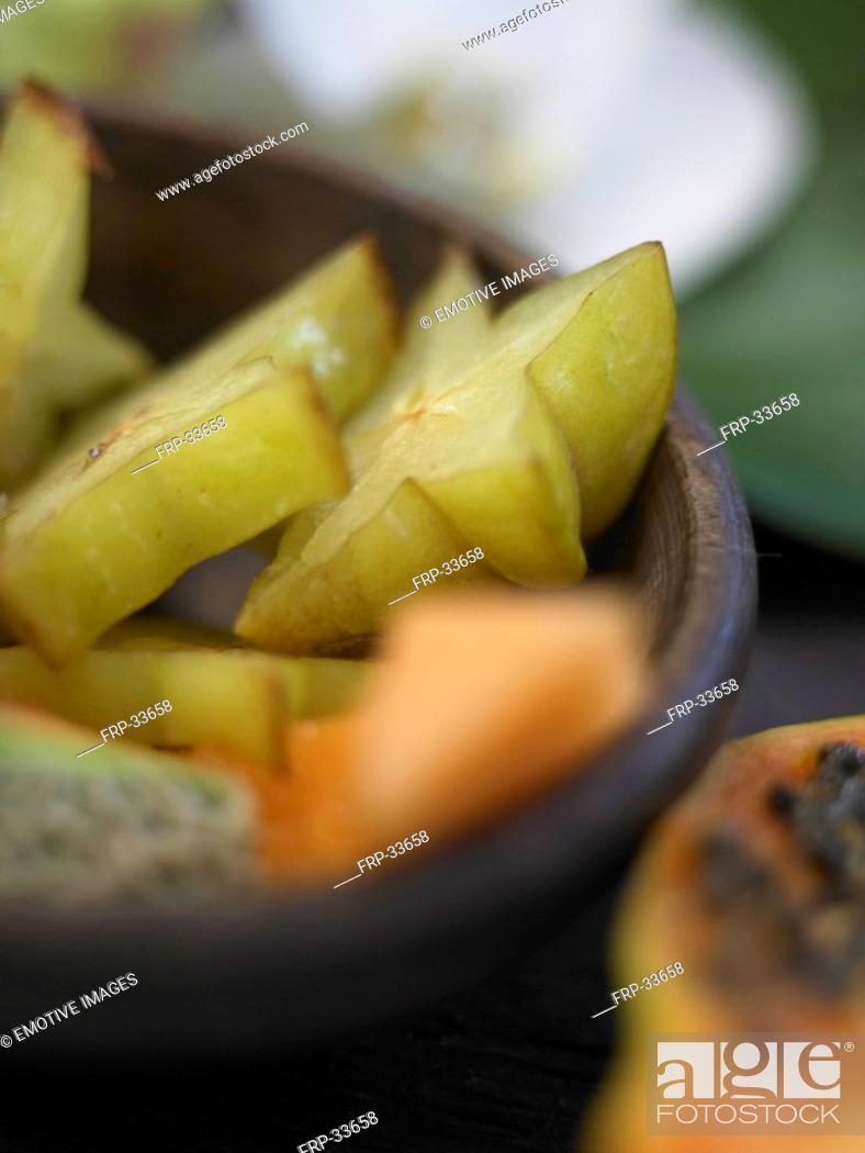 Stock Photo: Carambola and papaya.