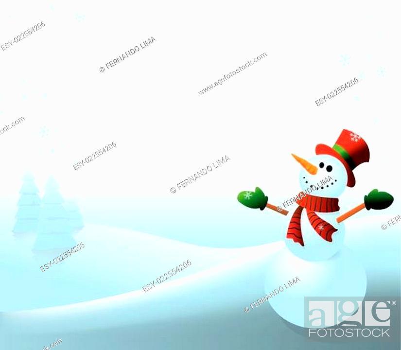Stock Vector: Snowman - white background.