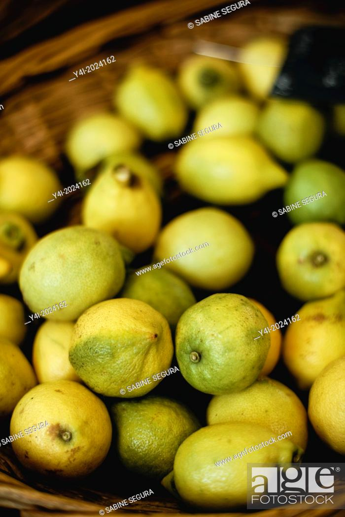 Stock Photo: Limes. Market in Bordeaux. Gironde. Aquitaine. France. Europe.