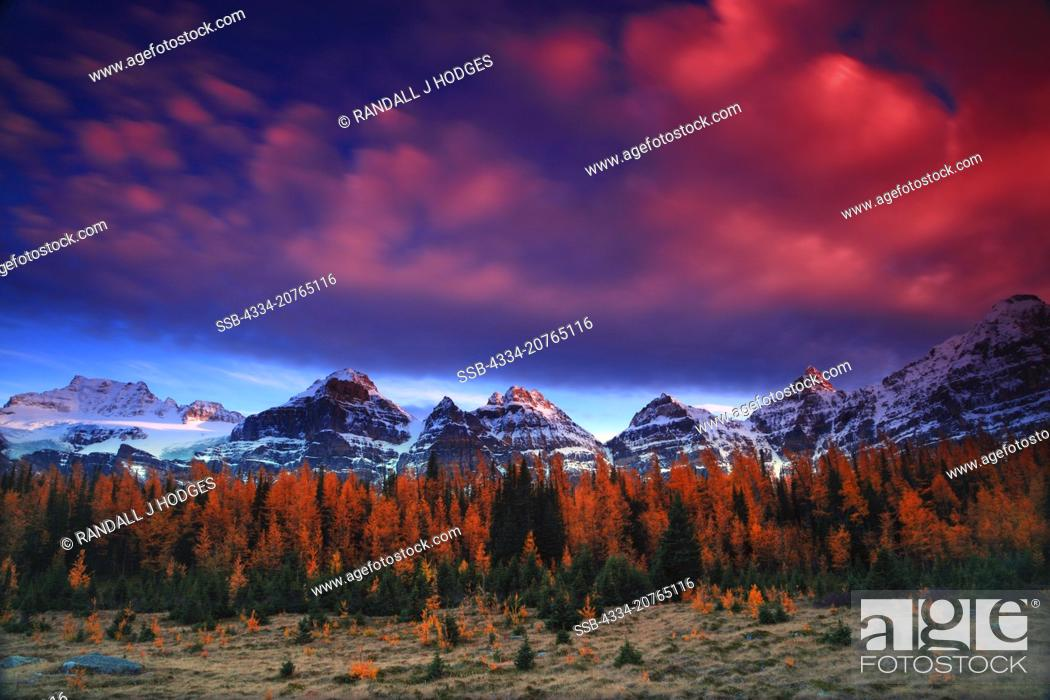 Stock Photo: Sunset With Golden Larch of Larch Valley on the Valley of Ten Peaks Trail in Banff National Park in Cananda.
