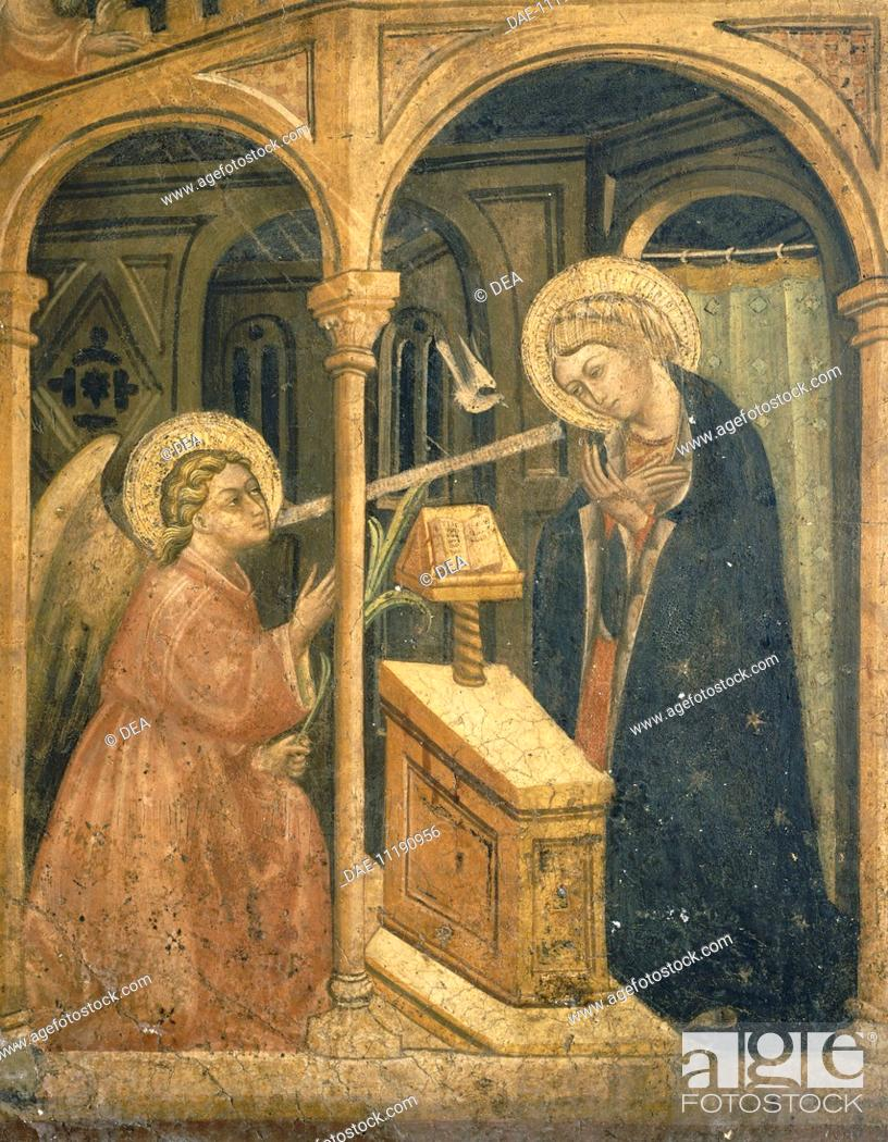 Stock Photo: The Annunciation, a fresco by an unknown artist of the Foligno School, 15th Century.  Foligno, Pinacoteca Comunale (Art Museum, Frescoes).