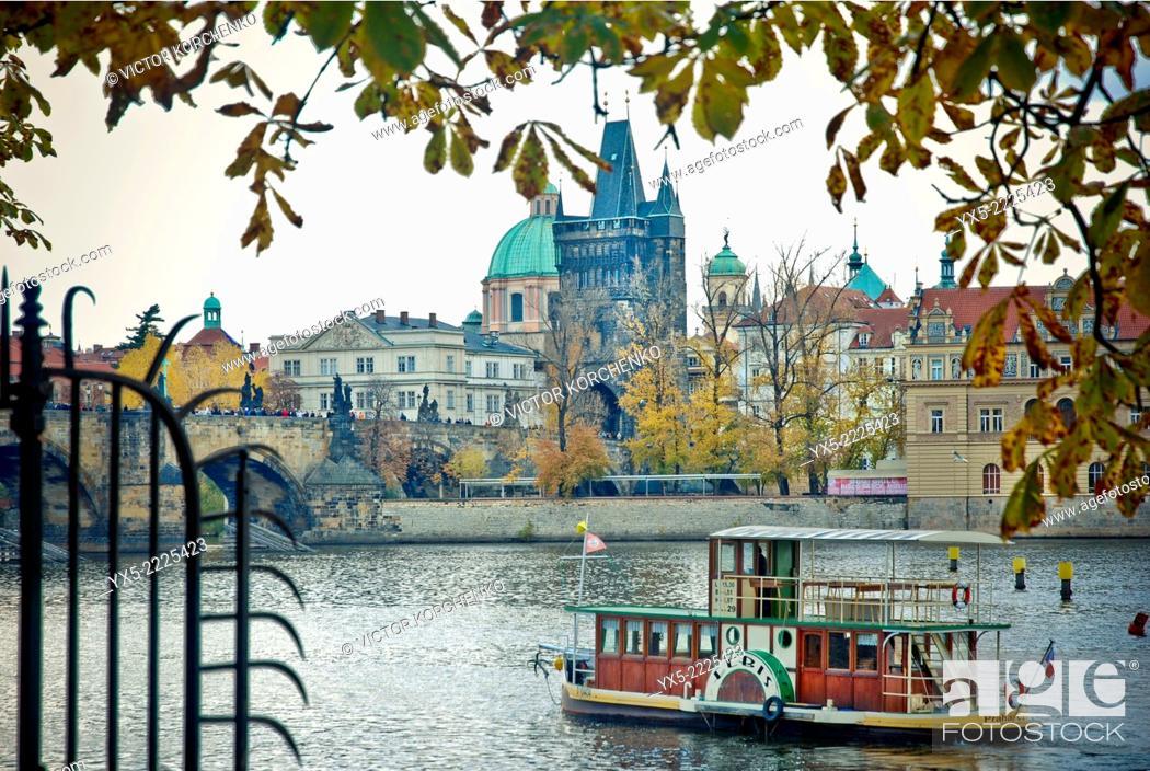 Stock Photo: River tours boat on Vltava river in Prague.