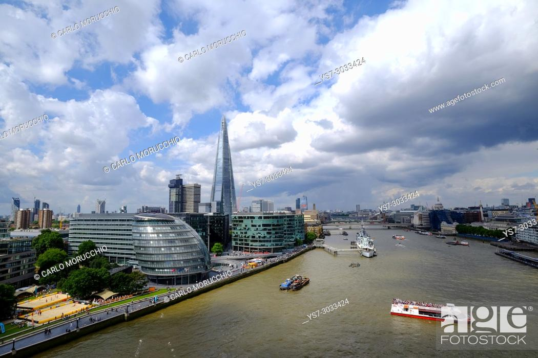 Stock Photo: View of London and Thames river from the Tower Bridge, London, United Kingdom.