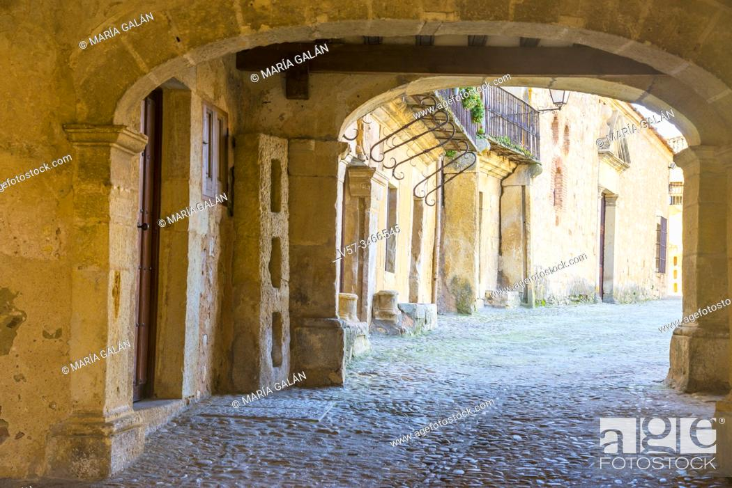 Stock Photo: Passage to Plaza Mayor. Pedraza, Segovia province, Castilla Leon, Spain.
