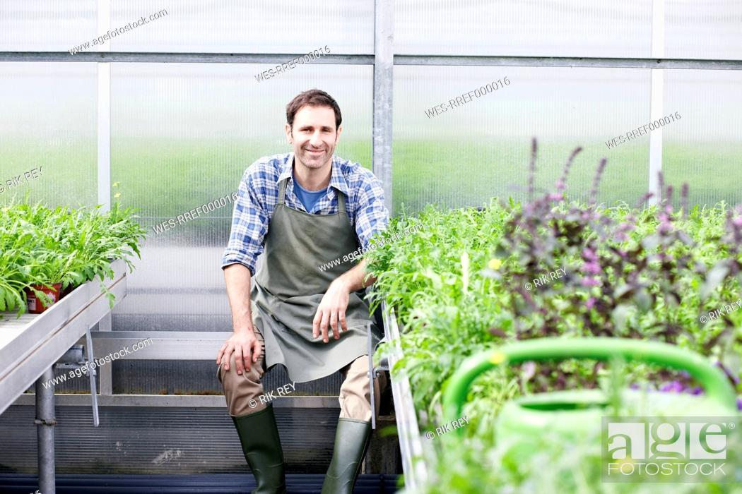 Stock Photo: Germany, Bavaria, Munich, Mature man in greenhouse between rocket plant.