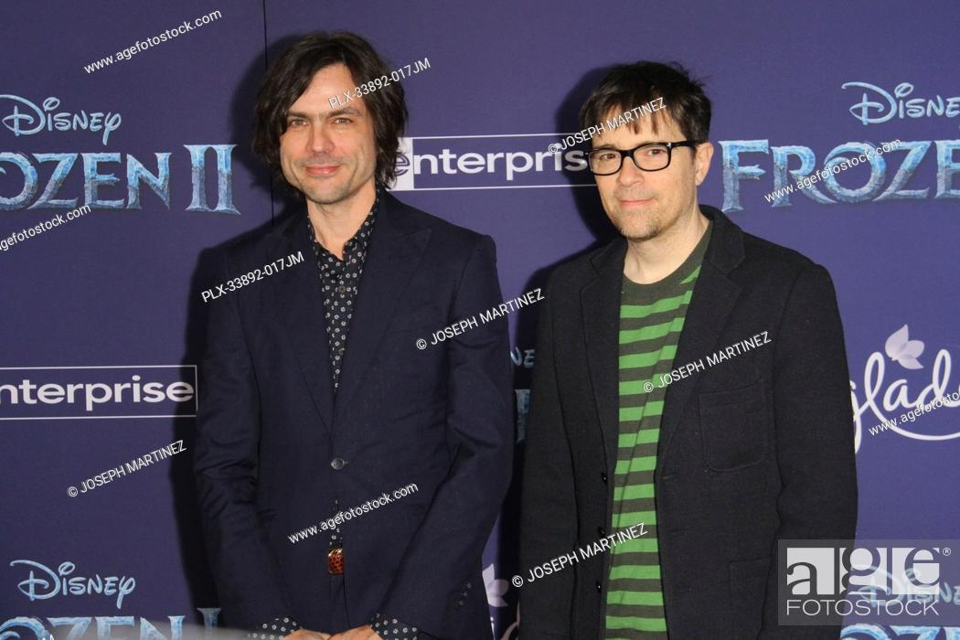 """Stock Photo: Weezer (Brian Bell, Rivers Cuomo) at Disney's """"""""Frozen II"""""""" World Premiere held at the Dolby Theatre in Hollywood, CA, November 7, 2019."""