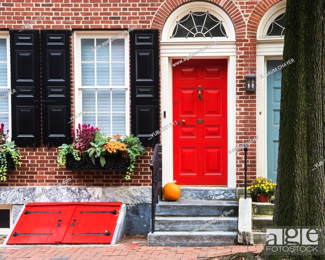 Stock Photo: Bright colorful front of ancient house, Philadelphia, Pennsylvania, USA.