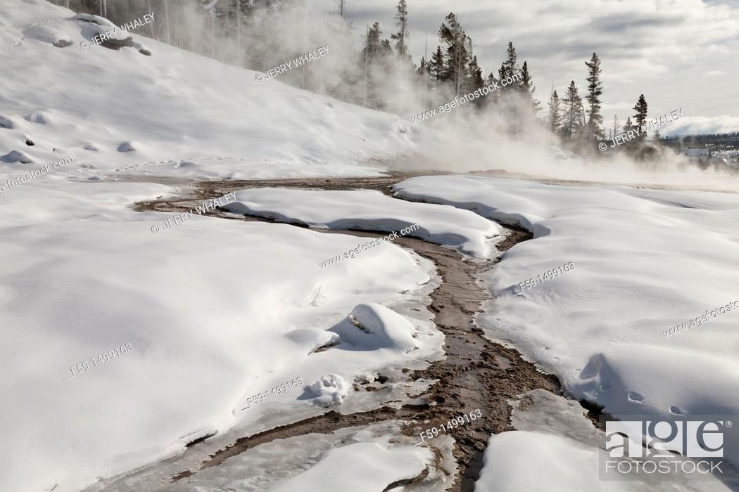 Stock Photo: Hot Spring, Winter, Upper Geyser Basin, Yellowstone NP, WY.