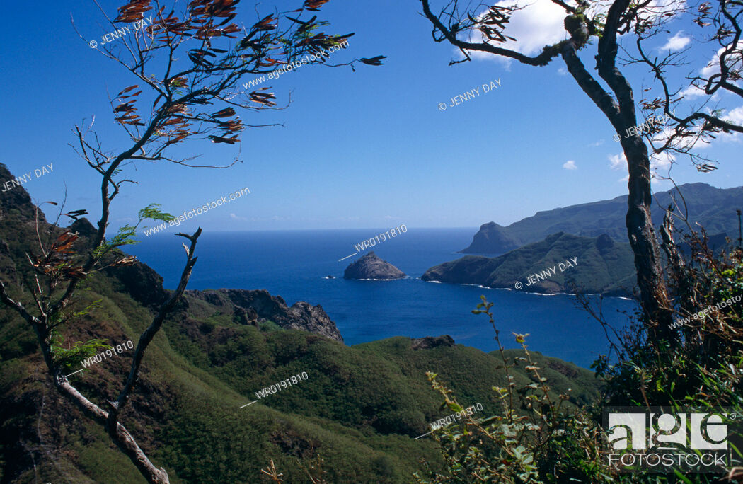 Stock Photo: Looking across entrance of Controler Bay, Nuku Hiva Island, Marquesas, French Polynesia.