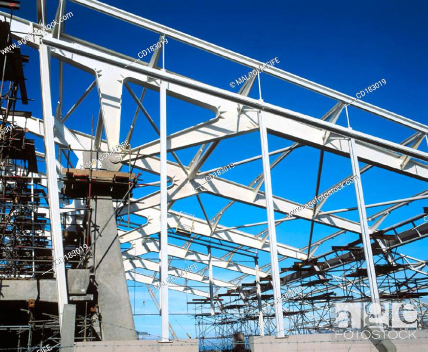 Stock Photo: Steel framework, leisure centre under construction.