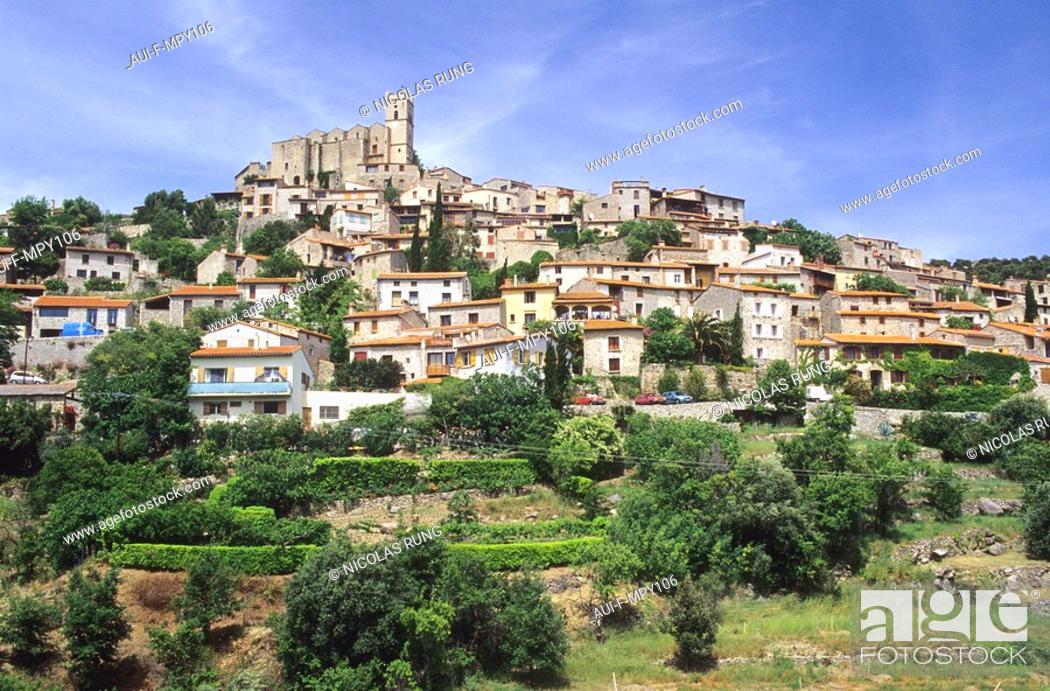 Stock Photo: France - Pyrenees Orientales - Village d'Eus.
