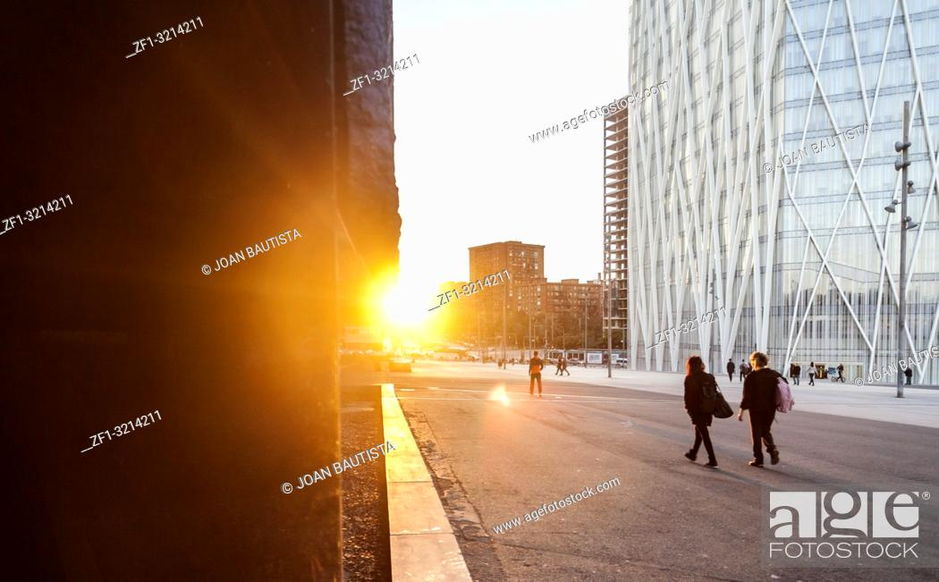 Imagen: Sunset time and modern building in Diagonal mar, Forum area, Barcelona.