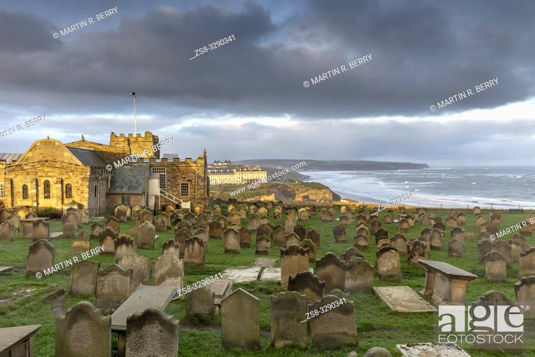 Stock Photo: St Mary's church and gravestones in Whitby, North Yorkshire.