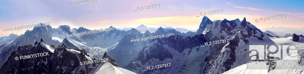 Stock Photo: Climbers leaving Alguille du Midi for the Mont Blanc Massif, Chamonix Mont Blanc, France.