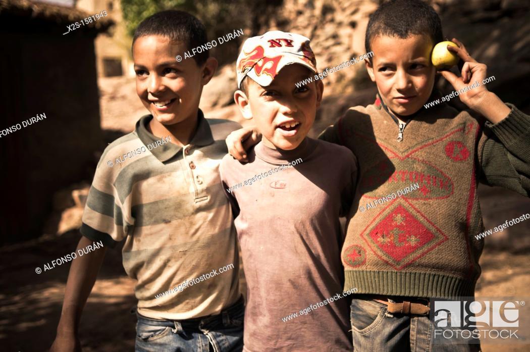 Stock Photo: Berber children in the High Atlas, Azilal, Morocco.