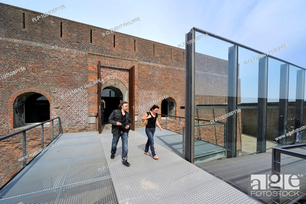Stock Photo: Tourists at the entrance of the Fort Napoleon at Ostend, Belgium.