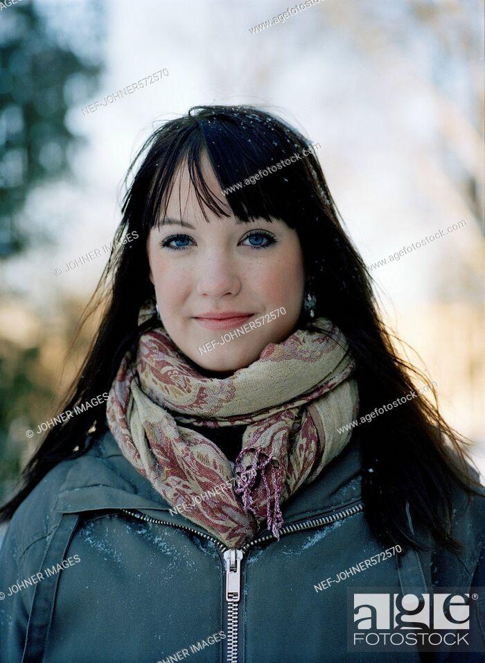 Stock Photo: Portrait of a teenage girl, Sweden.