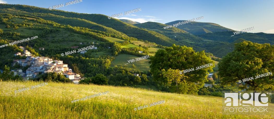 Stock Photo: The medieval town of Preci in the Valnerina, Monti Sibillini National Park, Umbria Italy.