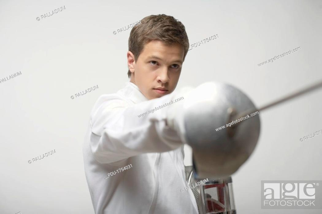 Stock Photo: Male fencer.
