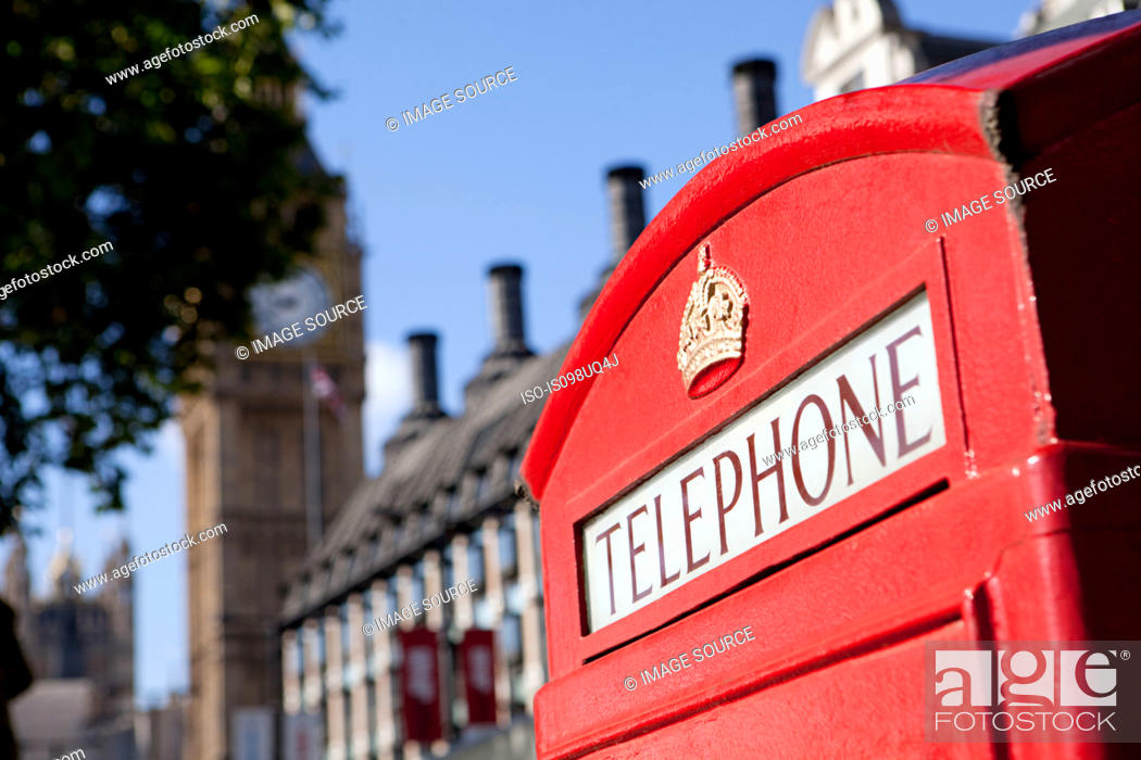 Stock Photo: Red telephone box and Big Ben, Westminster, London.