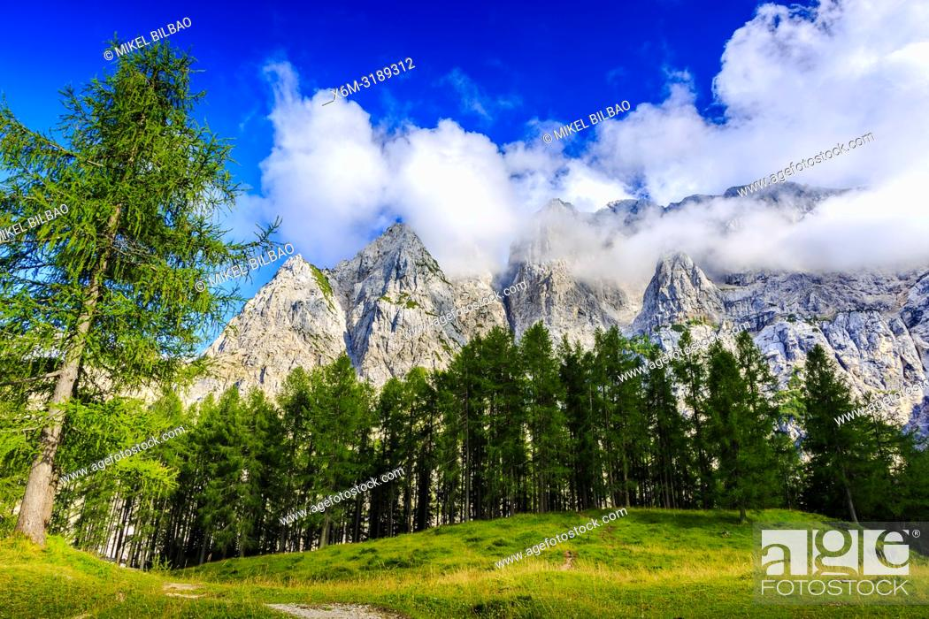 Stock Photo: Mount Prisank (2547m). Triglav National Park. Julian Alps. Upper Carniola region. Slovenia, Europe.