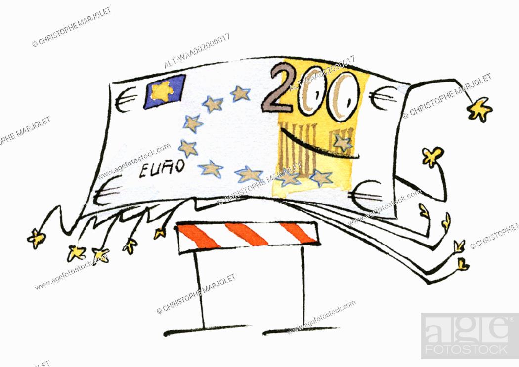 Stock Photo: Euro bill jumping hurdle.