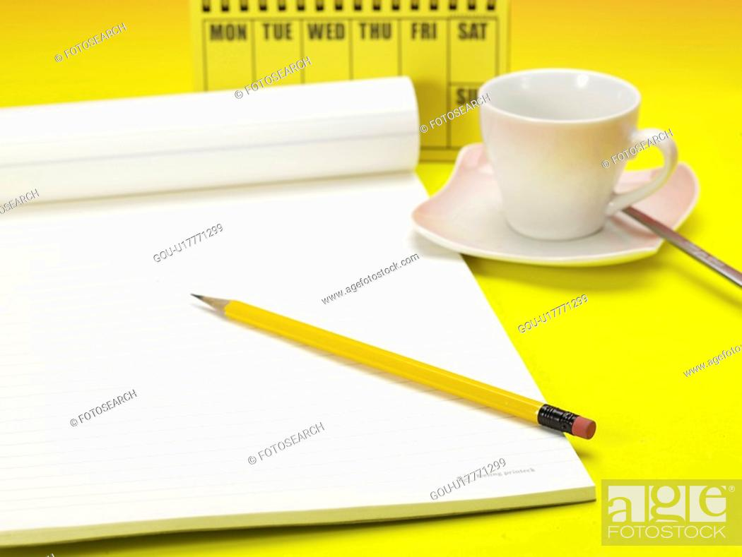 Stock Photo: drink, artifact, beverage, coffee cup, coffee, planner, notebook.