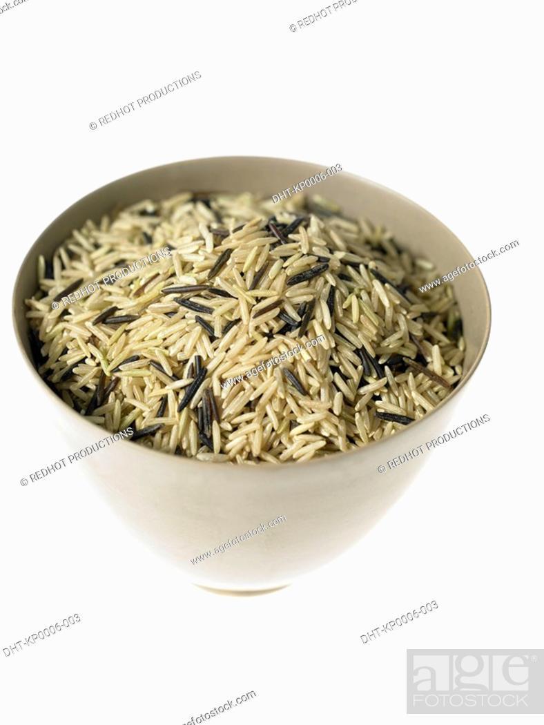 Stock Photo: Bowl of Wild and Basmati rice.