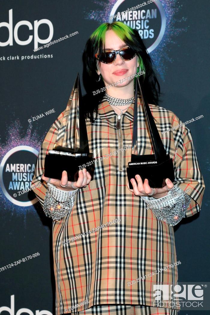 Stock Photo: November 24, 2019, Los Angeles, CA, USA: LOS ANGELES - NOV 24: Billie Eilish at the 47th American Music Awards - Press Room at Microsoft Theater on November 24.
