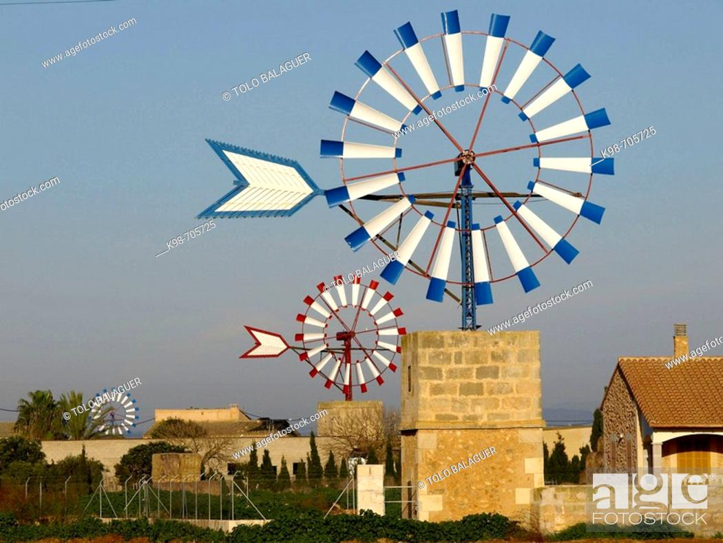 Stock Photo: Windmill. Campos. Mallorca. Balearic Islands. Spain.