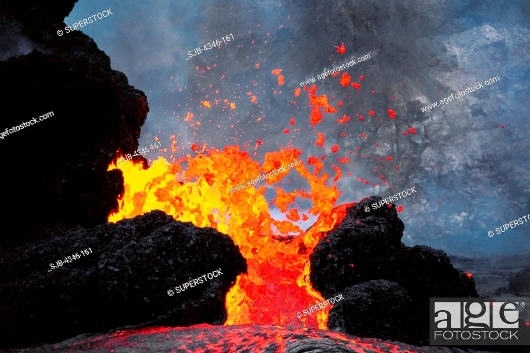 Stock Photo: Lava Erupting From Spatter Cones within Pu'u O'o Vent.
