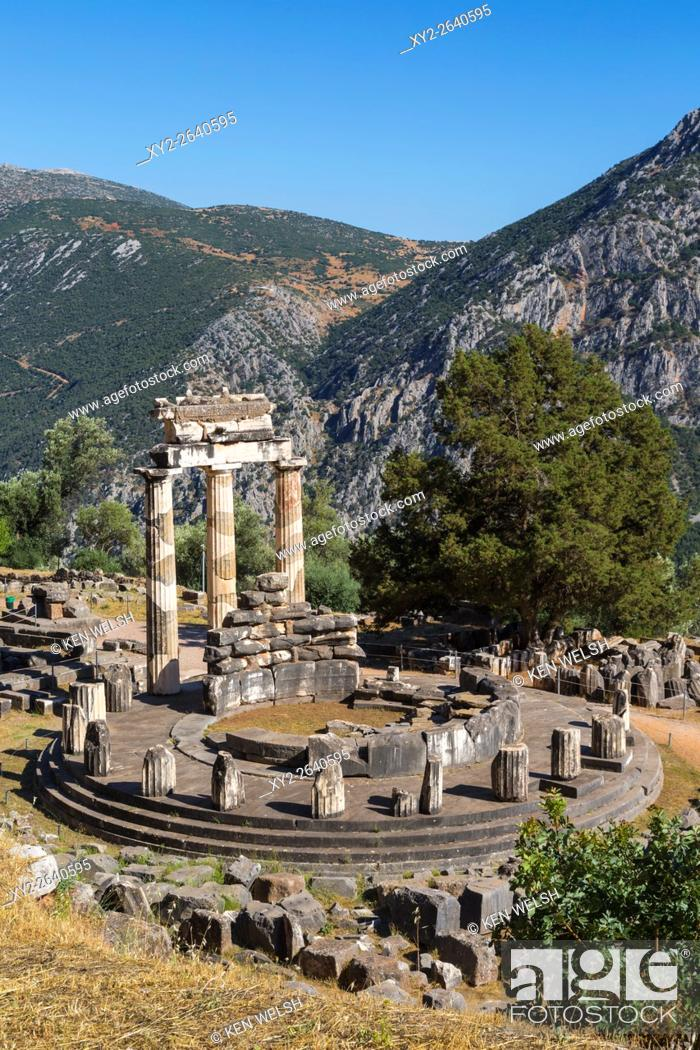 Stock Photo: Delphi, Phocis, Greece. The tholos, dating from around 380-360 BC, beside the Sanctuary of Athena Pronaia. Ancient Delphi is a UNESCO World Heritage Site.