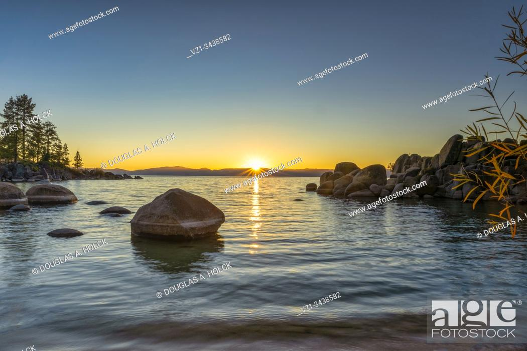 Stock Photo: Sand Harbor Fall Sunset Lake Tahoe.