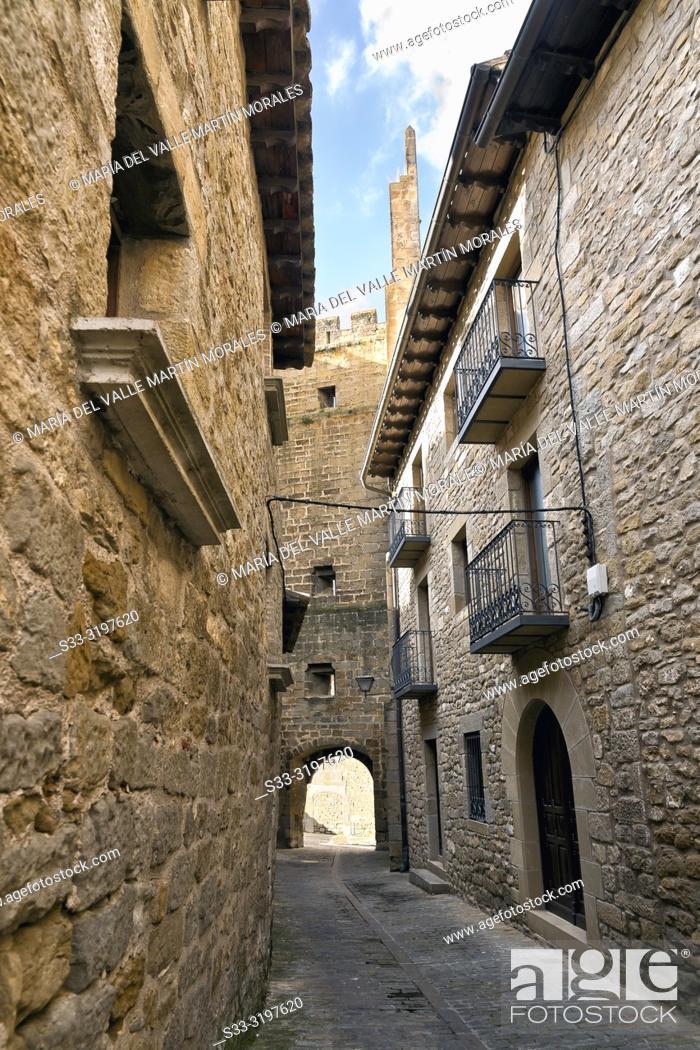 Stock Photo: Historical medieval street with balconies in Sos del Rey Catolico. Zaragoza. Aragon. Spain. Europe.